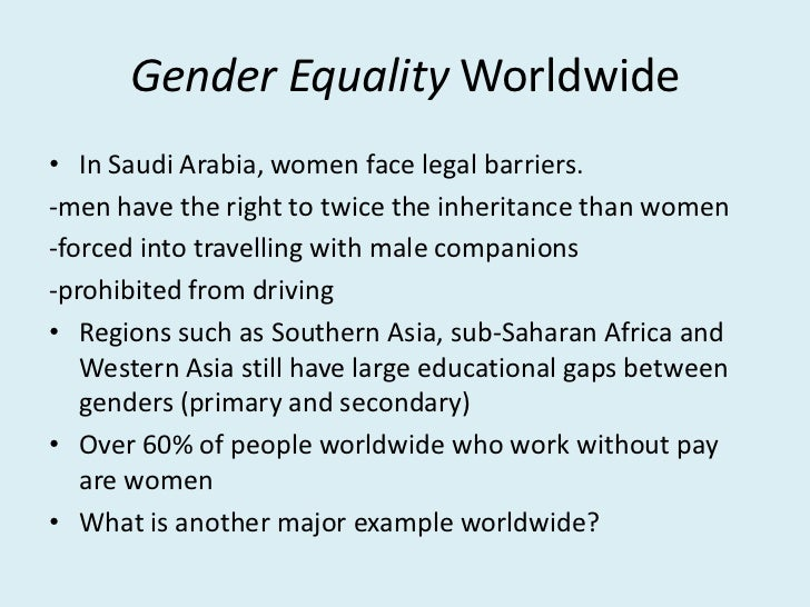 barriers to and opportunities for gender equality in primary education The gender pay gap is a worldwide phenomenon according to the world economic forum's global gender gap report 2014 none of the 142 countries featured had complete economic equality between the genders.