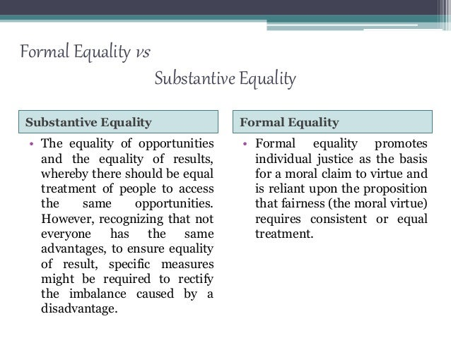 formal and substantive equality