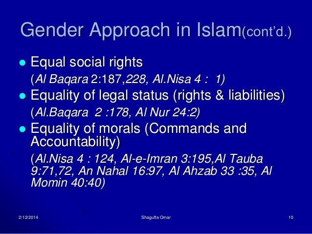 gender equality and islam essay Look at a sample essay as well  20 topics on muslim culture for a  one of the largest controversies within islam and the west is the idea of gender equality.