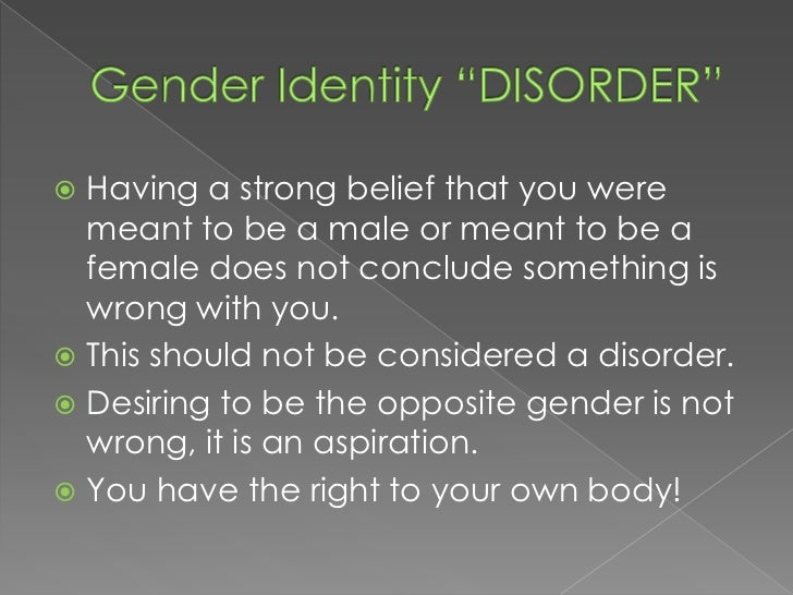 essay on gender identity disorder An important part of identity in psychology is gender identity psychology and identity essay example dissociative identity disorder essay.