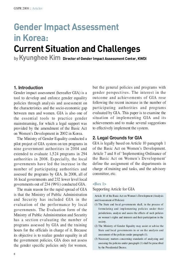 8GSPR 2008 :: ArticlesGender Impact Assessmentin Korea:Current Situation and Challengesby Kyunghee Kim Director of Gender ...