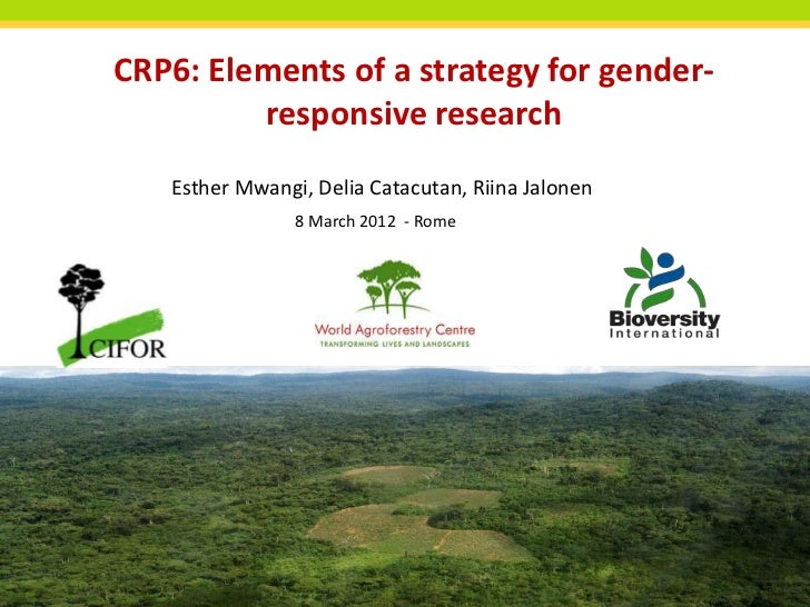 CRP6: Elements of a strategy for gender-         responsive research   Esther Mwangi, Delia Catacutan, Riina Jalonen      ...