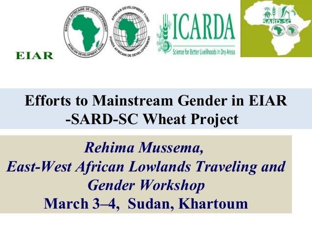 Efforts to Mainstream Gender in EIAR -SARD-SC Wheat Project EIAR Rehima Mussema, East-West African Lowlands Traveling and ...
