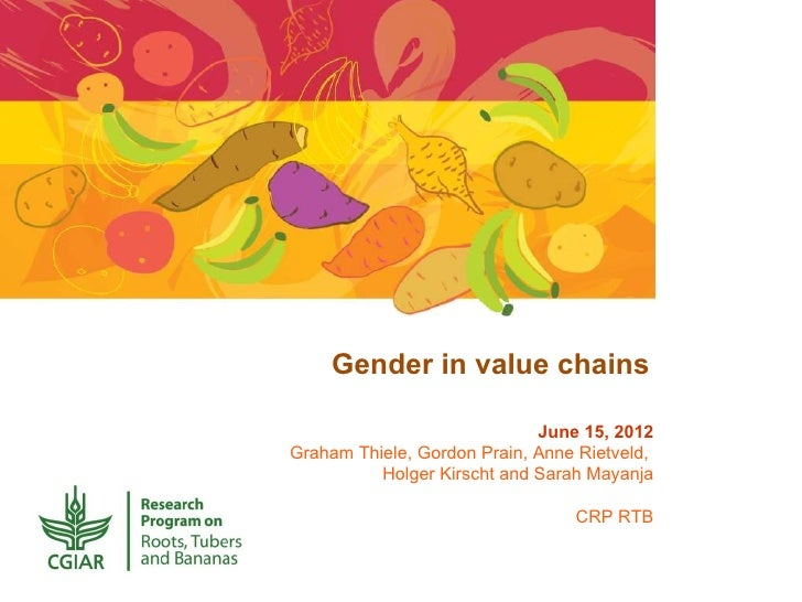 Gender in value chains                             June 15, 2012Graham Thiele, Gordon Prain, Anne Rietveld,          Holge...