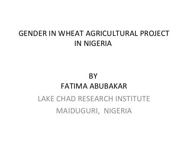 GENDER IN WHEAT AGRICULTURAL PROJECT IN NIGERIA BY FATIMA ABUBAKAR LAKE CHAD RESEARCH INSTITUTE MAIDUGURI, NIGERIA