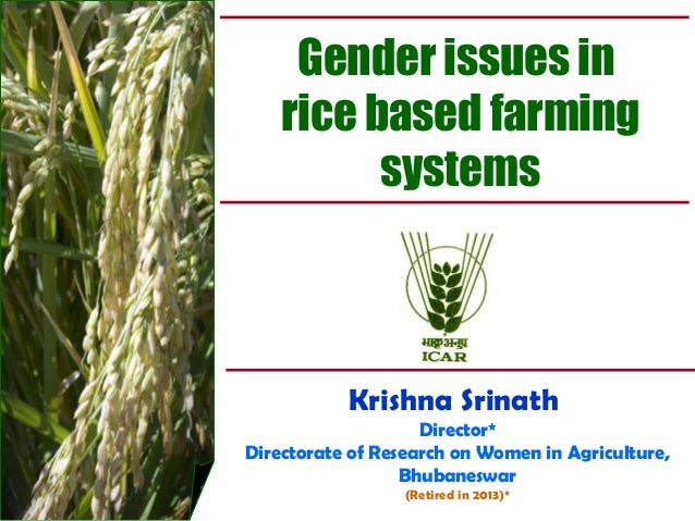 Gender issues in rice based farming systems Krishna Srinath Director* Directorate of Research on Women in Agriculture, Bhu...