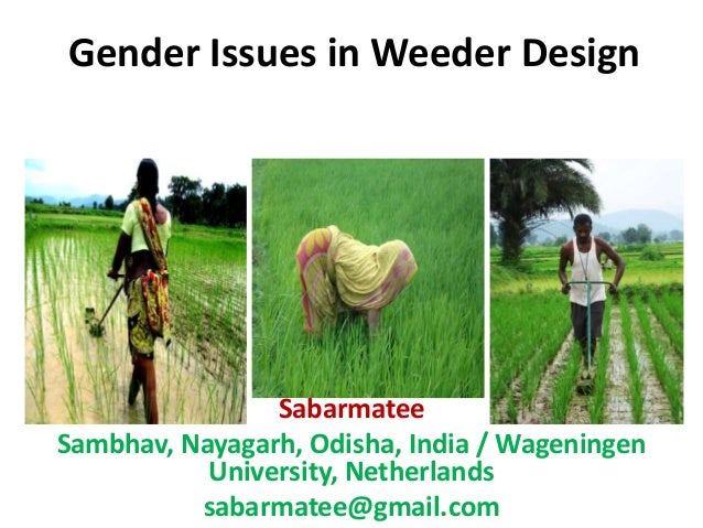 Gender Issues in Weeder Design Sabarmatee Sambhav, Nayagarh, Odisha, India / Wageningen University, Netherlands sabarmatee...