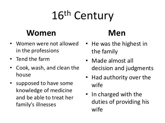 an analysis of womens roles in 16th and 17th century Gender roles in the 19th century  ephemeral card representing traditional ideas about women whose role is defined within the domestic sphere and in relation to men.