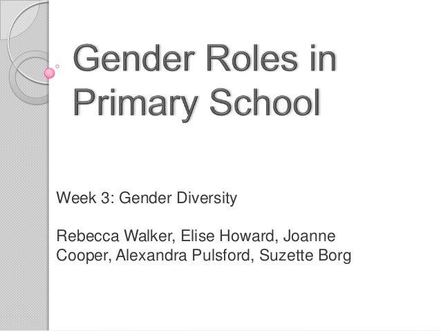 Week 3: Gender DiversityRebecca Walker, Elise Howard, JoanneCooper, Alexandra Pulsford, Suzette Borg