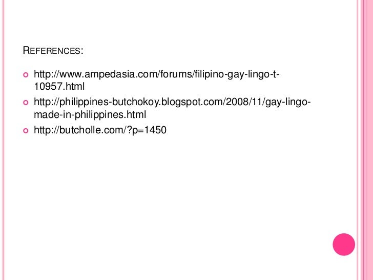 gay lingo thesis filipino