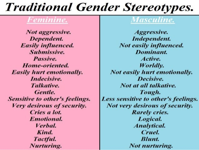 female and male stereotypes Gender stereotypes and perceptions in society  he further writes that it is acceptable for women to adopt the roles of men rather than men take up the roles of women.