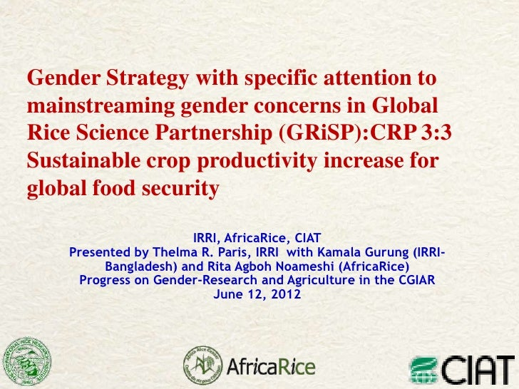 Gender Strategy with specific attention tomainstreaming gender concerns in GlobalRice Science Partnership (GRiSP):CRP 3:3S...