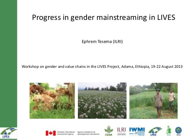Progress in gender mainstreaming in LIVES Ephrem Tesema (ILRI) Workshop on gender and value chains in the LIVES Project, A...