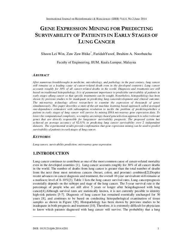 International Journal on Bioinformatics & Biosciences (IJBB) Vol.4, No.2,June 2014 DOI: 10.5121/ijbb.2014.4201 1 GENE EXPR...