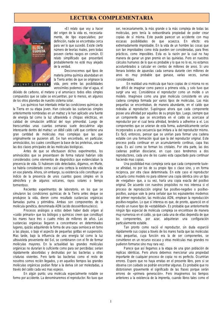 LECTURA COMPLEMENTARIA                                          «El relato que voy a hacer          ser, necesariamente, l...