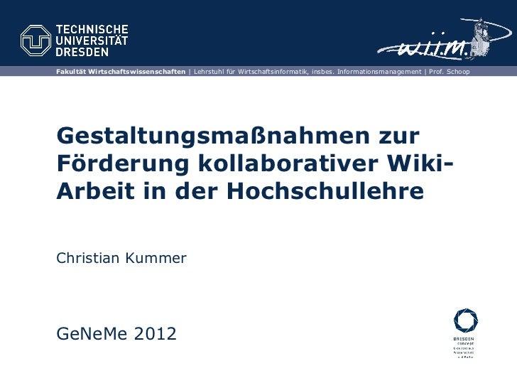 Fakultät Wirtschaftswissenschaften | Lehrstuhl für Wirtschaftsinformatik, insbes. Informationsmanagement | Prof. SchoopGes...