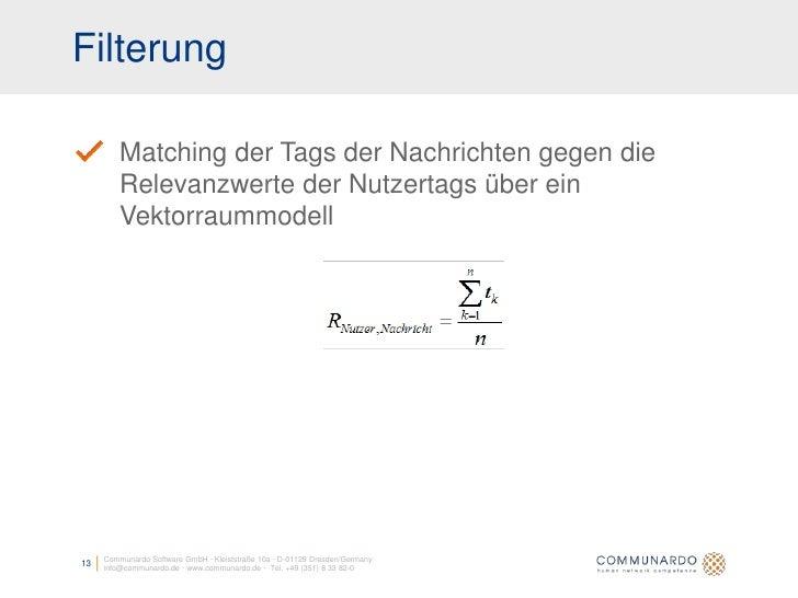 Filterung           Matching der Tags der Nachrichten gegen die          Relevanzwerte der Nutzertags über ein          Ve...