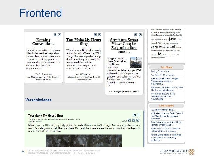 Frontend          Communardo Software GmbH · Kleiststraße 10a · D-01129 Dresden/Germany 16   info@communardo.de · www.comm...