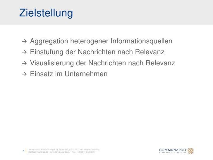 Zielstellung       Aggregation heterogener Informationsquellen      Einstufung der Nachrichten nach Relevanz      Visua...