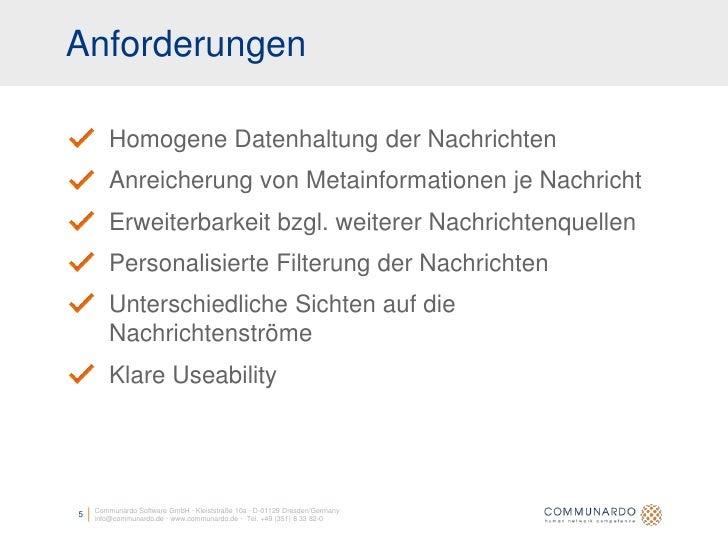 Anforderungen          Homogene Datenhaltung der Nachrichten         Anreicherung von Metainformationen je Nachricht      ...
