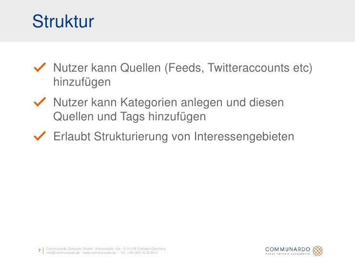 Struktur          Nutzer kann Quellen (Feeds, Twitteraccounts etc)         hinzufügen         Nutzer kann Kategorien anleg...