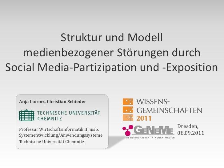 Struktur und Modell   medienbezogener Störungen durchSocial Media-Partizipation und -Exposition  Anja Lorenz, Christian Sc...