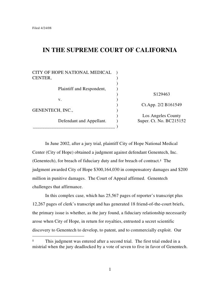 Filed 4/24/08           IN THE SUPREME COURT OF CALIFORNIA   CITY OF HOPE NATIONAL MEDICAL ) CENTER,                      ...