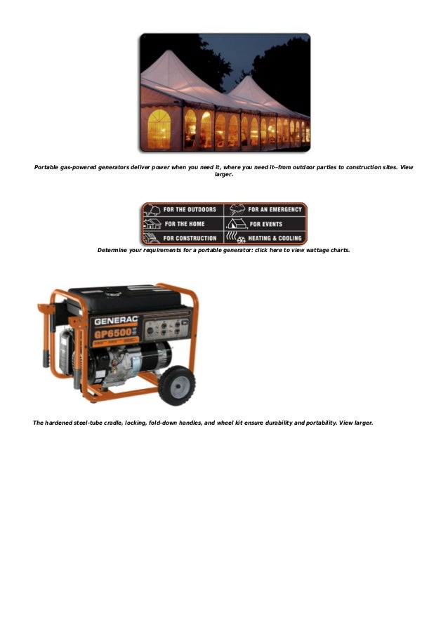 Generac 5623 gp6500 8,000 watt 389cc ohv portable gas powered generat…