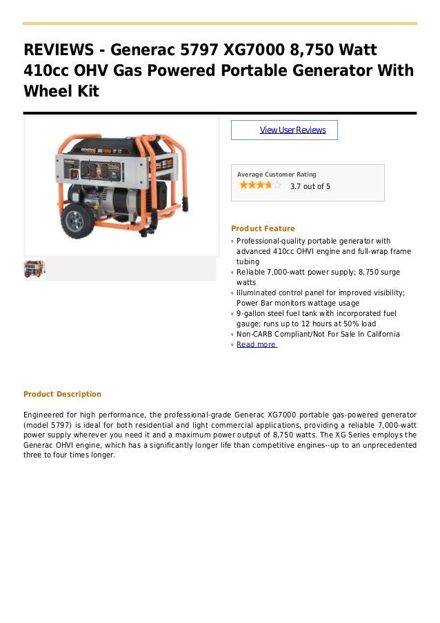 Generac 5797 xg7000 8,750 watt 410cc ohv gas powered