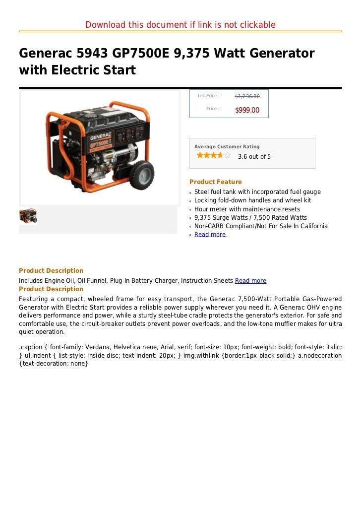 Download this document if link is not clickableGenerac 5943 GP7500E 9,375 Watt Generatorwith Electric Start               ...