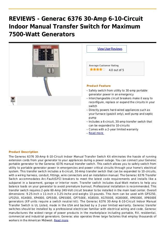 Generac 6379 30-Amp 10-16-Circuit Manual Transfer Switch for 7500 ...