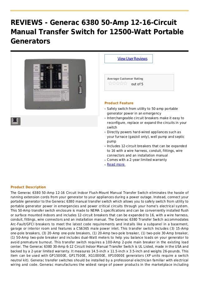 Generac 6380 50 amp 12-16-circuit manual transfer switch for 12500-wa…