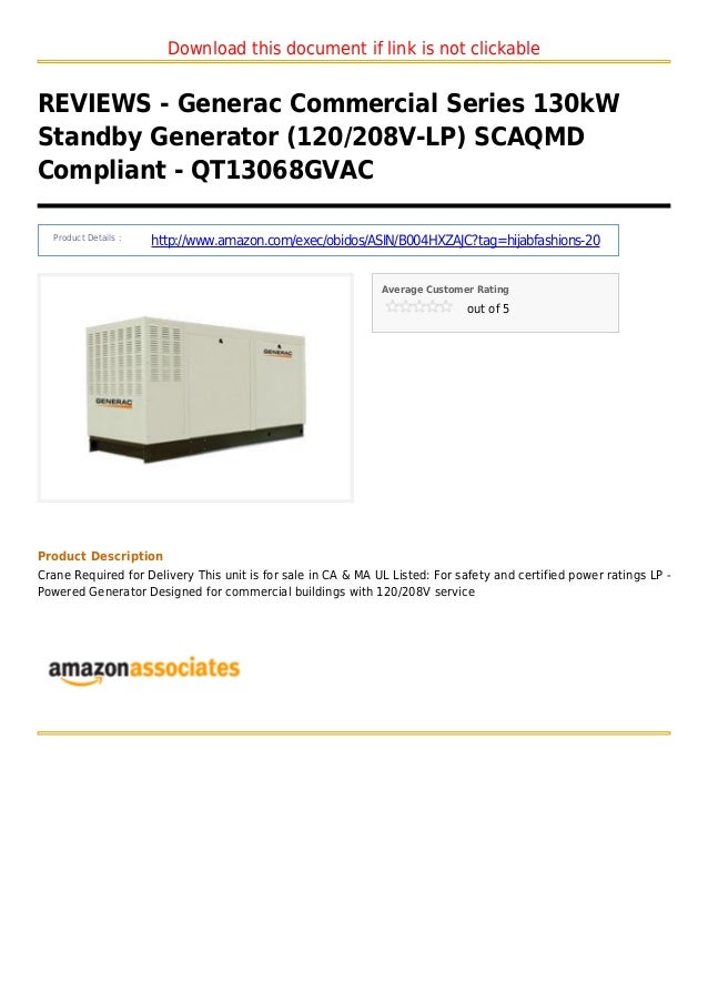 Download this document if link is not clickableREVIEWS - Generac Commercial Series 130kWStandby Generator (120/208V-LP) SC...