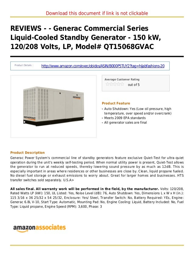 Download this document if link is not clickableREVIEWS - - Generac Commercial SeriesLiquid-Cooled Standby Generator - 150 ...