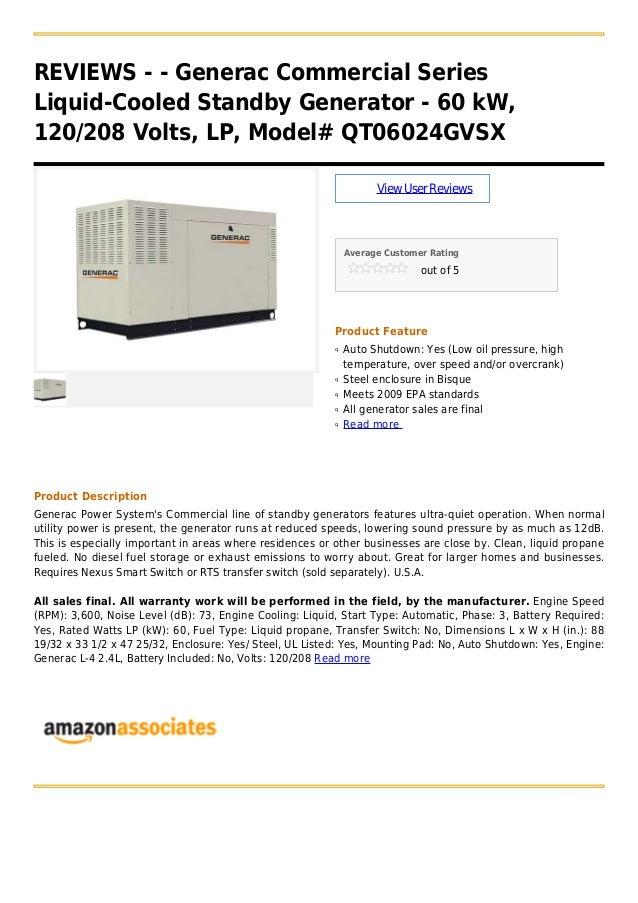REVIEWS - - Generac Commercial Series Liquid-Cooled Standby Generator - 60 kW, 120/208 Volts, LP, Model# QT06024GVSX ViewU...
