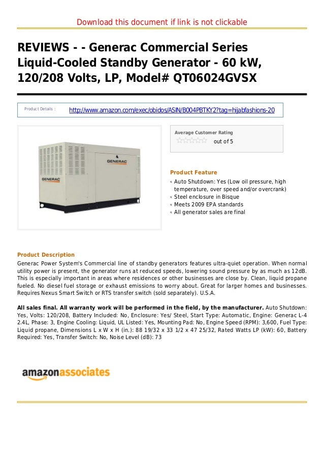 Download this document if link is not clickableREVIEWS - - Generac Commercial SeriesLiquid-Cooled Standby Generator - 60 k...