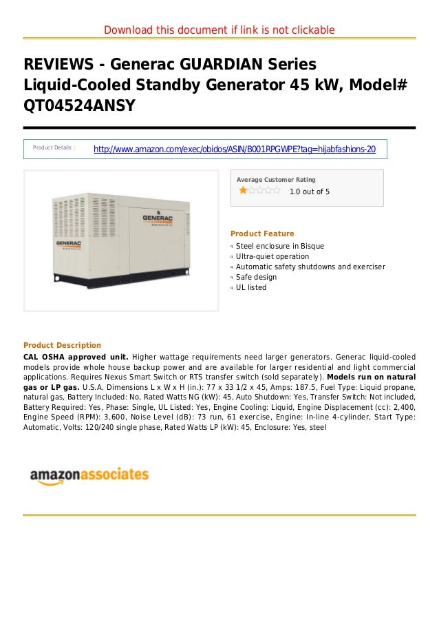 Download this document if link is not clickableREVIEWS - Generac GUARDIAN SeriesLiquid-Cooled Standby Generator 45 kW, Mod...