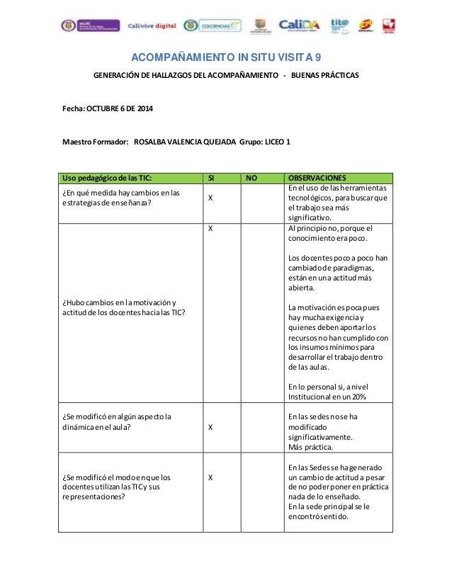 ACOMPAÑAMIENTO IN SITU VISITA 9  GENERACIÓN DE HALLAZGOS DEL ACOMPAÑAMIENTO - BUENAS PRÁCTICAS  Fecha: OCTUBRE 6 DE 2014  ...