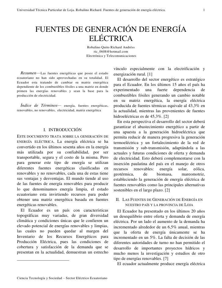 Universidad Técnica Particular de Loja. Robalino Richard. Fuentes de generación de energía eléctrica.                1    ...