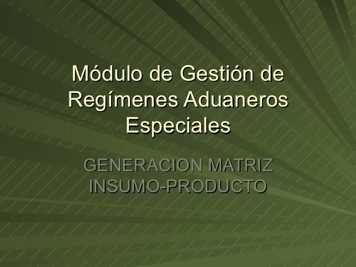 Módulo de Gestión de Regímenes Aduaneros Especiales GENERACION MATRIZ INSUMO-PRODUCTO