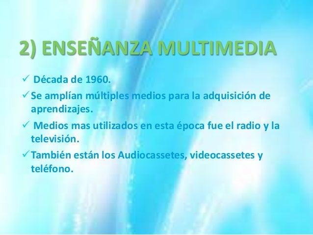 3) ENSEÑANZA TELEMATICA A mediados de la década 1980. Intervención e informática. Enseñanza asistida por ordenador. Es...