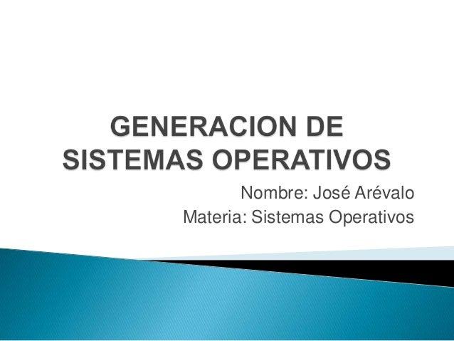 Nombre: José ArévaloMateria: Sistemas Operativos