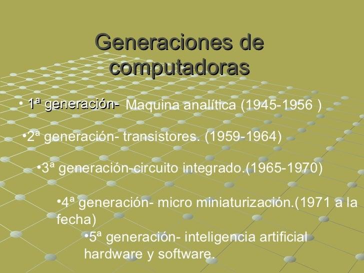 Generaciones de computadoras <ul><li>1ª generación- </li></ul>Maquina analítica ( 1945-1956 ) <ul><li>2ª generación- trans...