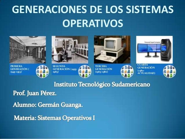 GENERACIONES DE LOS SISTEMAS        OPERATIVOS                                                 CUARTAPRIMERA        SEGUND...