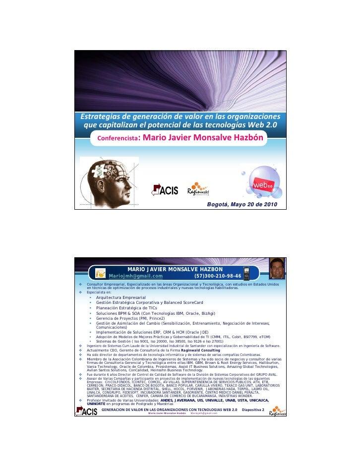 Estrategiasdegeneracióndevalorenlasorganizaciones  quecapitalizanelpotencialdelastecnologíasWeb2.0        ...
