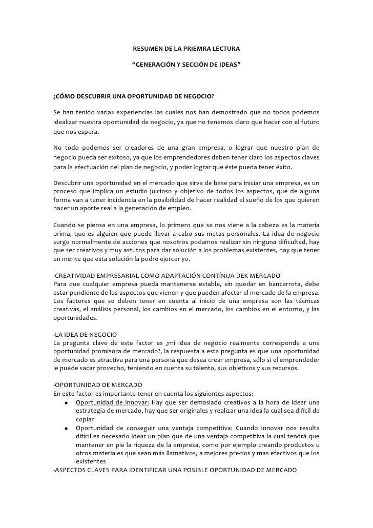 """RESUMEN DE LA PRIEMRA LECTURA<br />""""GENERACIÓN Y SECCIÓN DE IDEAS""""<br />¿CÓMO DESCUBRIR UNA OPORTUNIDAD DE NEGOCIO?<br />S..."""