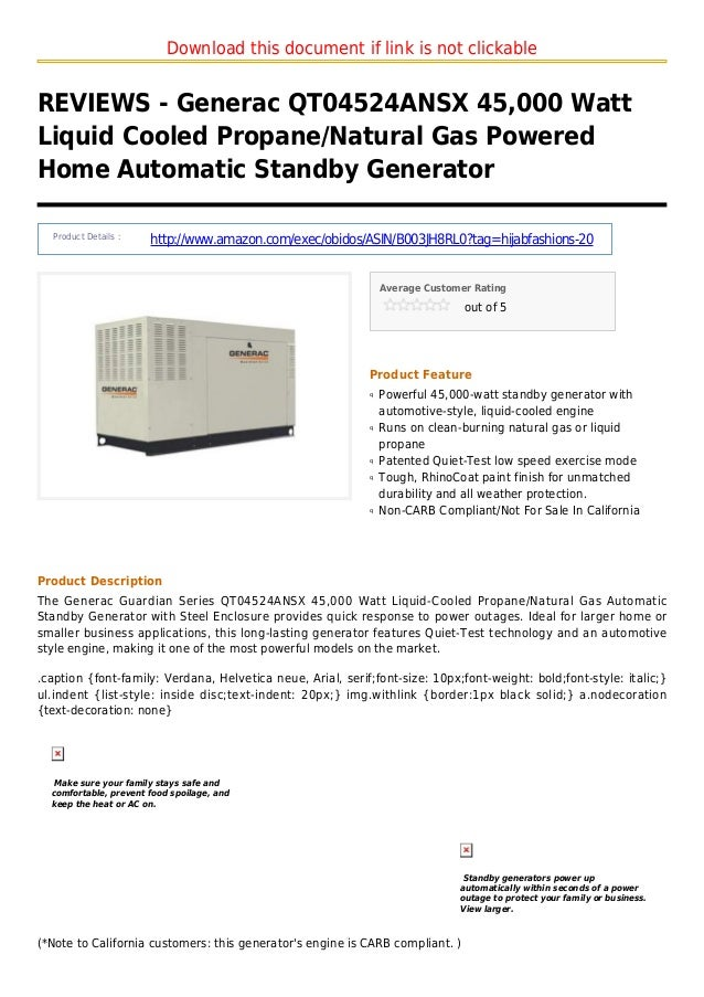 Download this document if link is not clickableREVIEWS - Generac QT04524ANSX 45,000 WattLiquid Cooled Propane/Natural Gas ...