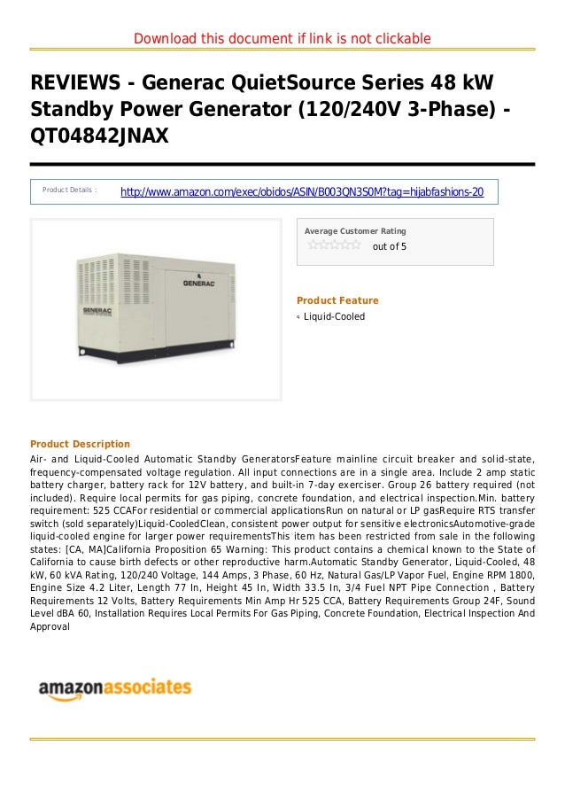 Download this document if link is not clickableREVIEWS - Generac QuietSource Series 48 kWStandby Power Generator (120/240V...