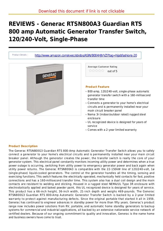 Download this document if link is not clickableREVIEWS - Generac RTSN800A3 Guardian RTS800 amp Automatic Generator Transfe...