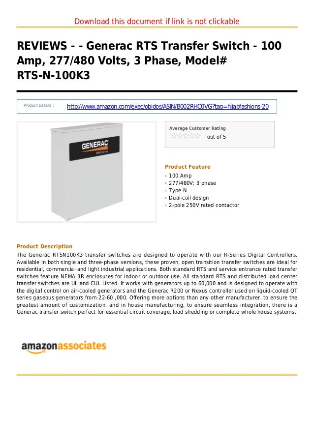 Download this document if link is not clickableREVIEWS - - Generac RTS Transfer Switch - 100Amp, 277/480 Volts, 3 Phase, M...
